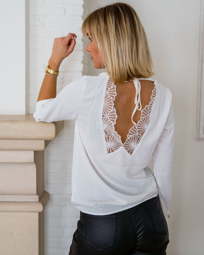 Open Lace Back Blouse  White
