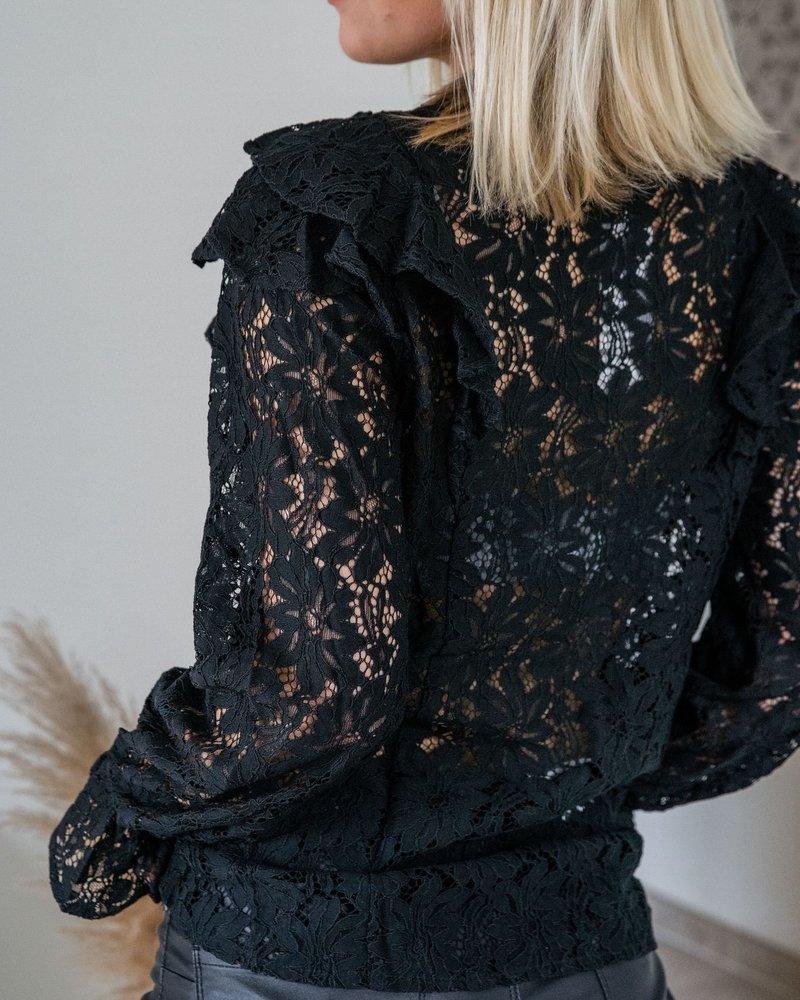 Frill Lace Blouse Black
