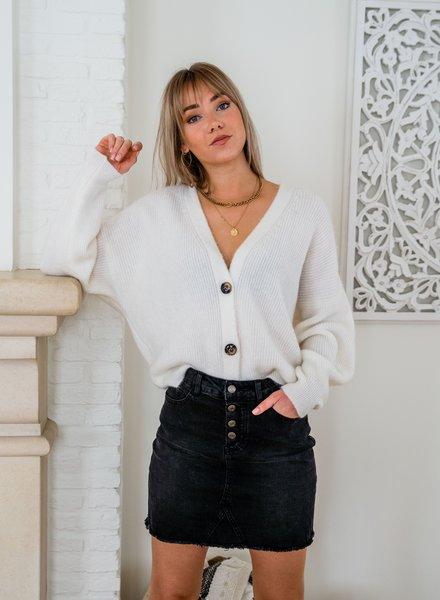 Button Knit White
