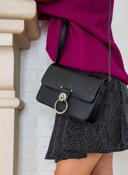 Snake Leather Bag Black