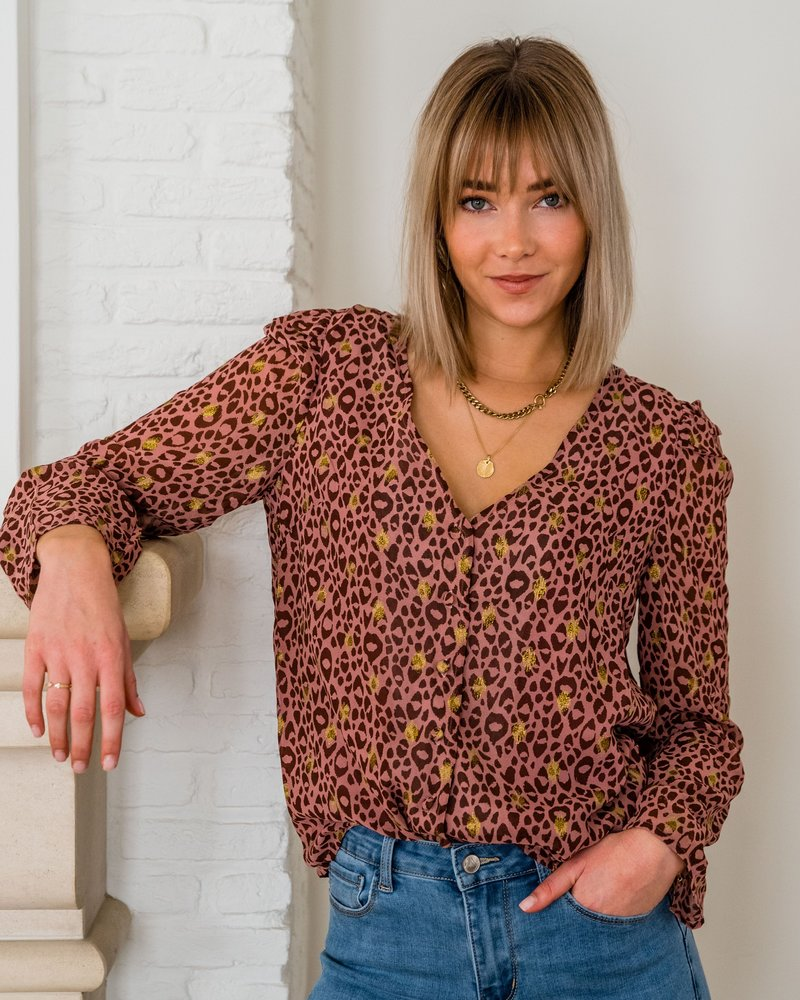 Xenia Leopard Blouse Pink
