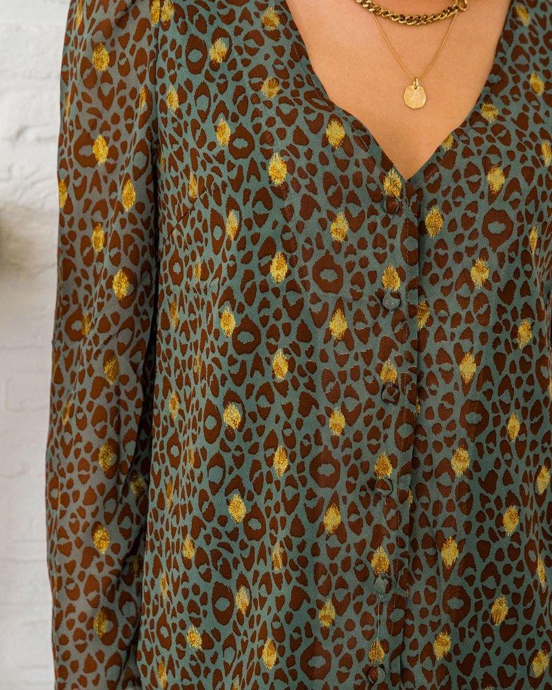 Xenia Leopard Blouse Green