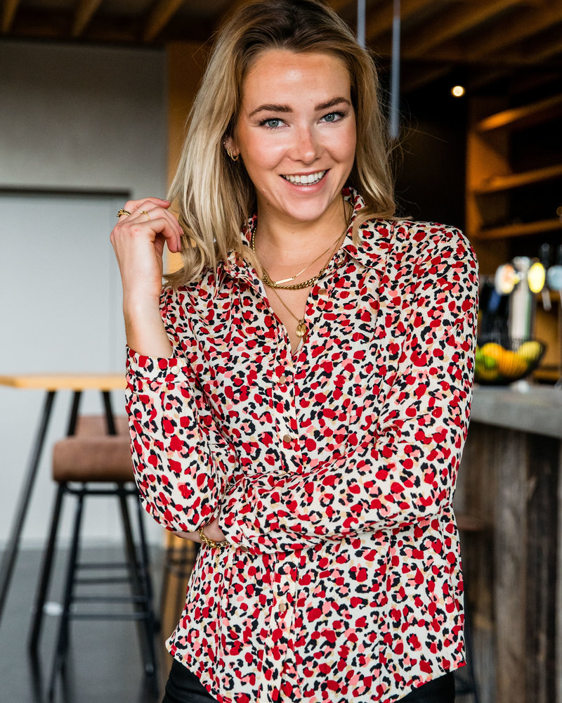 Leopard Red Blouse