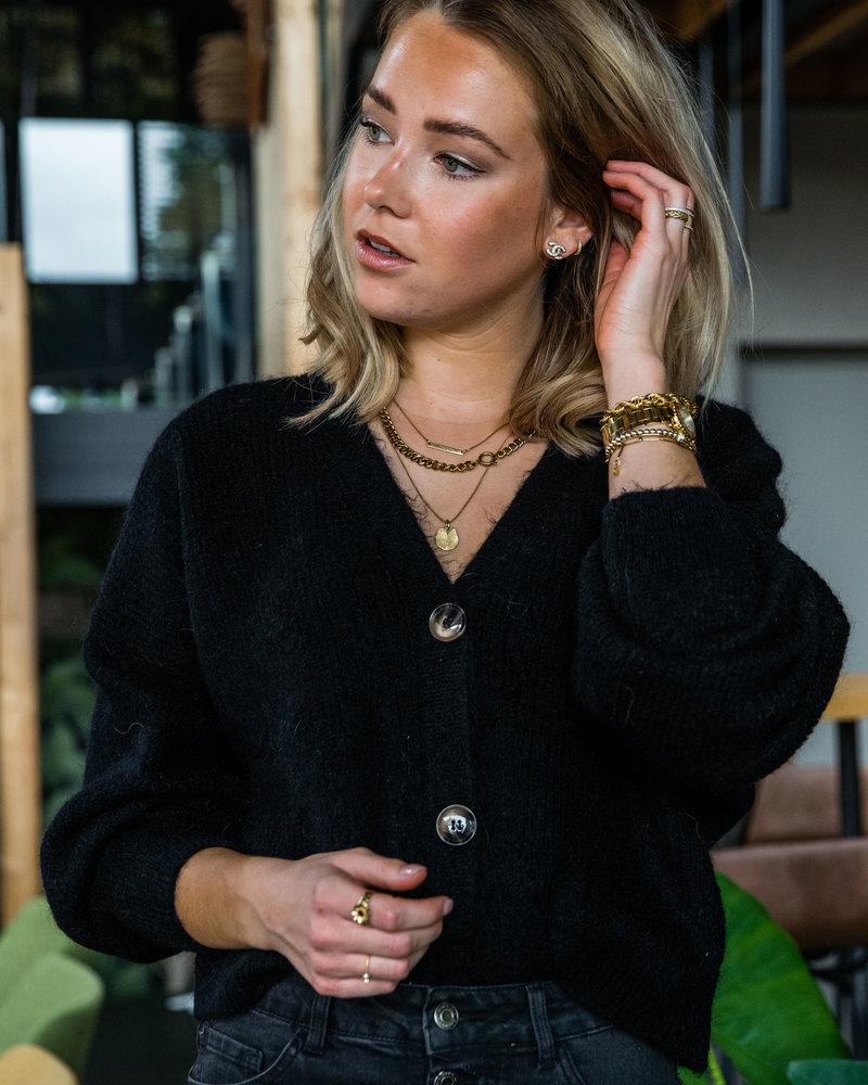 Button Knit Black