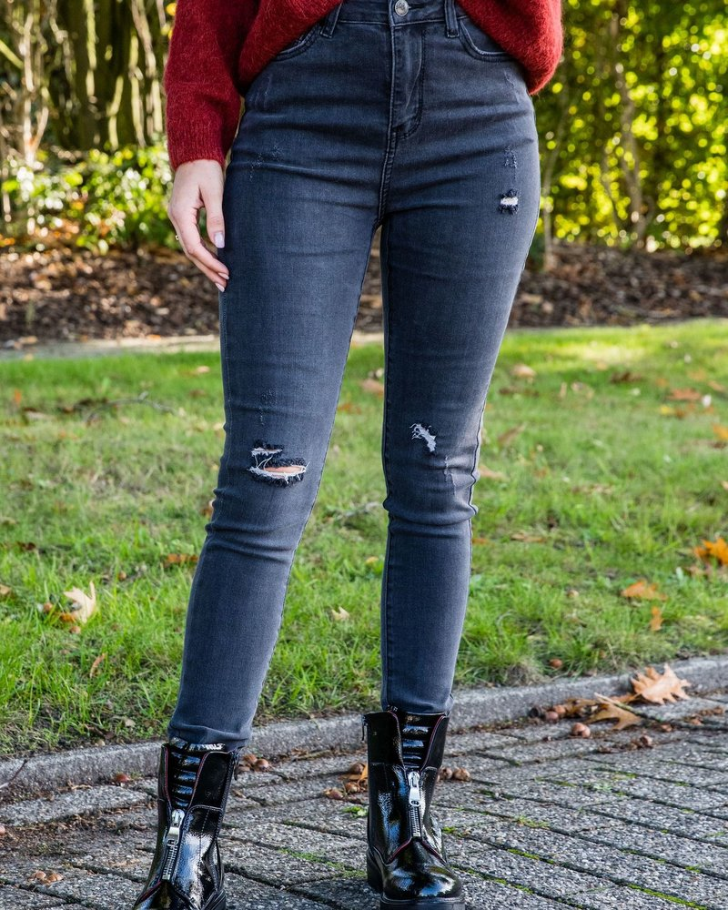 High Waist Ripped Jeans Grey
