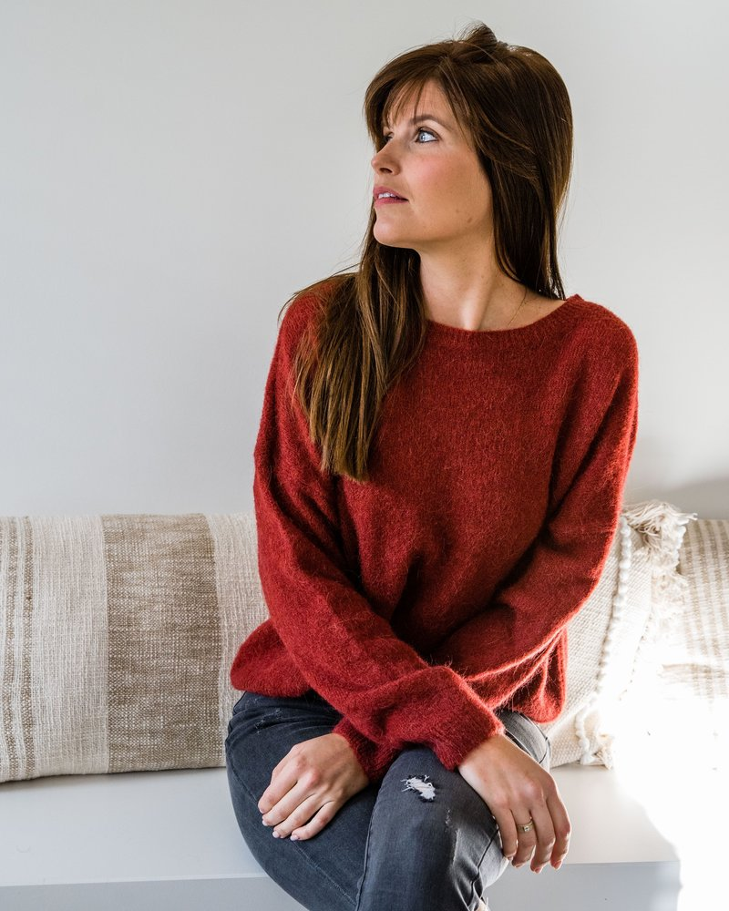 Loose Sweater Fall Red