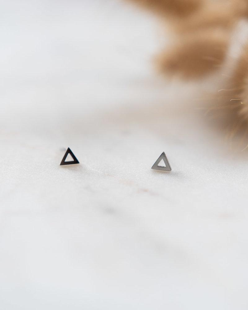 Studs open driehoek Zilver