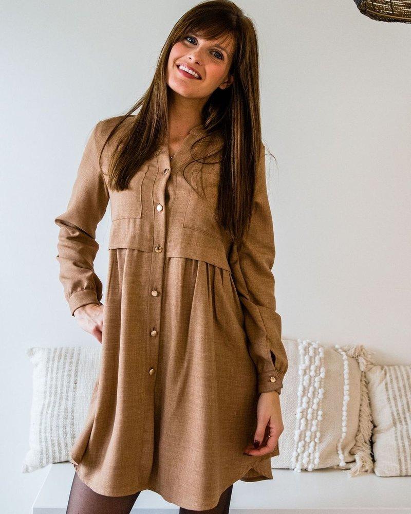 Camel Button Dress