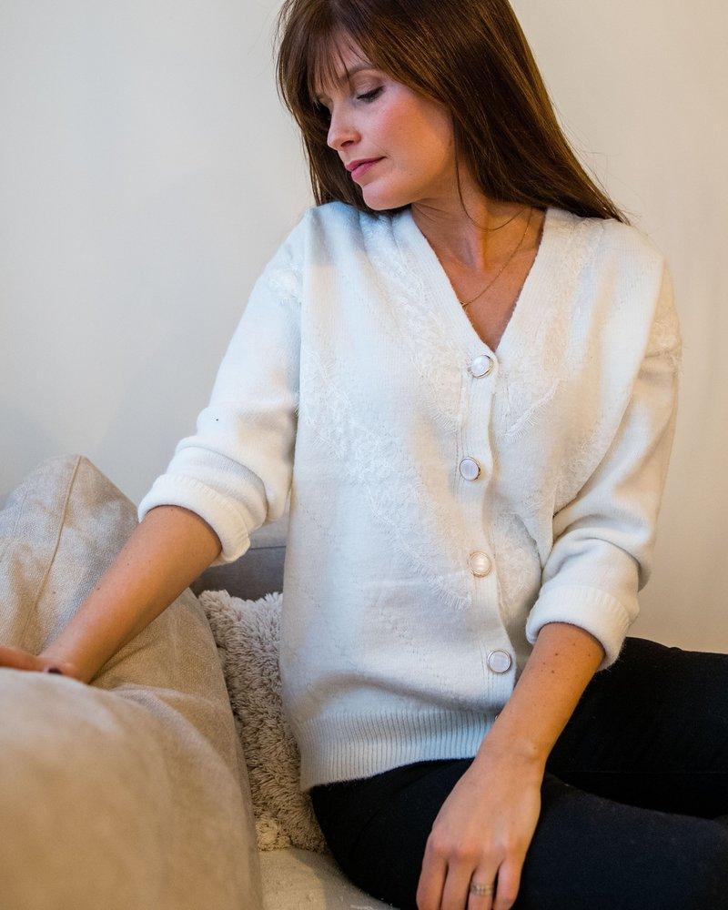 Button Lace Cardi White