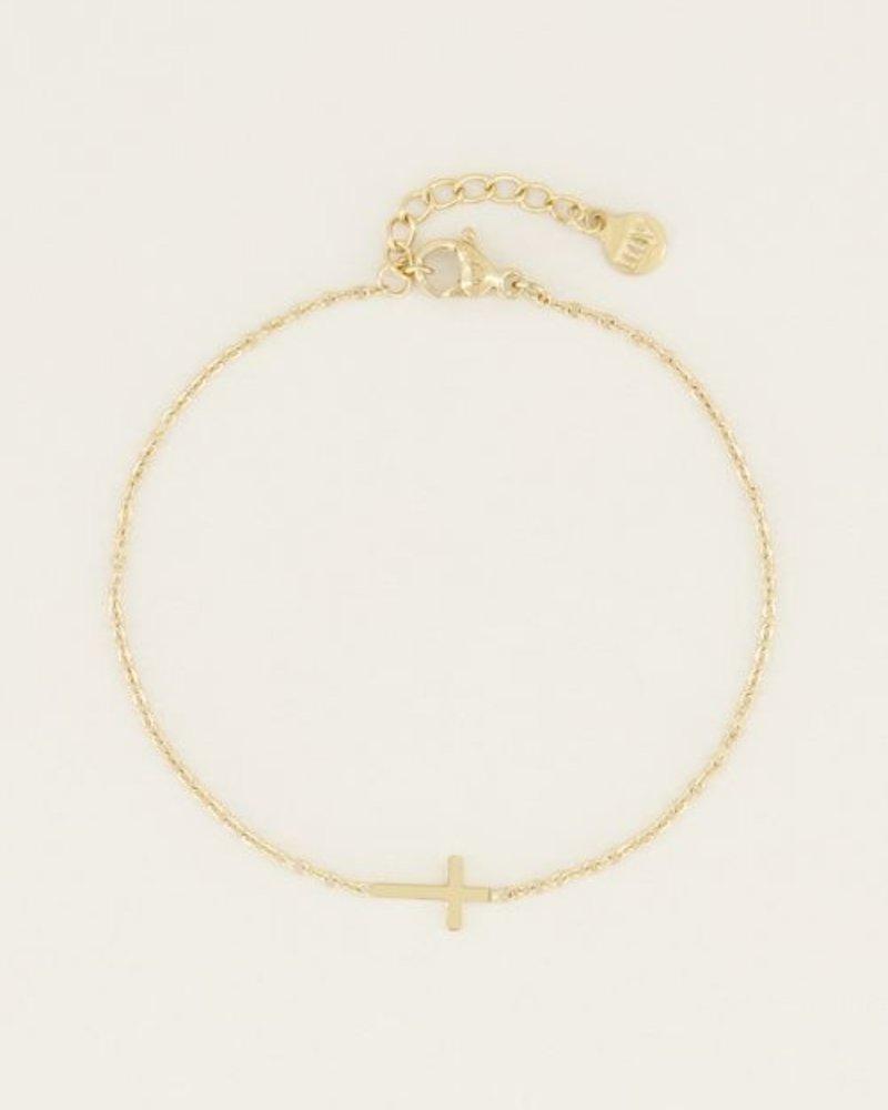 Armband klein kruisje Goud