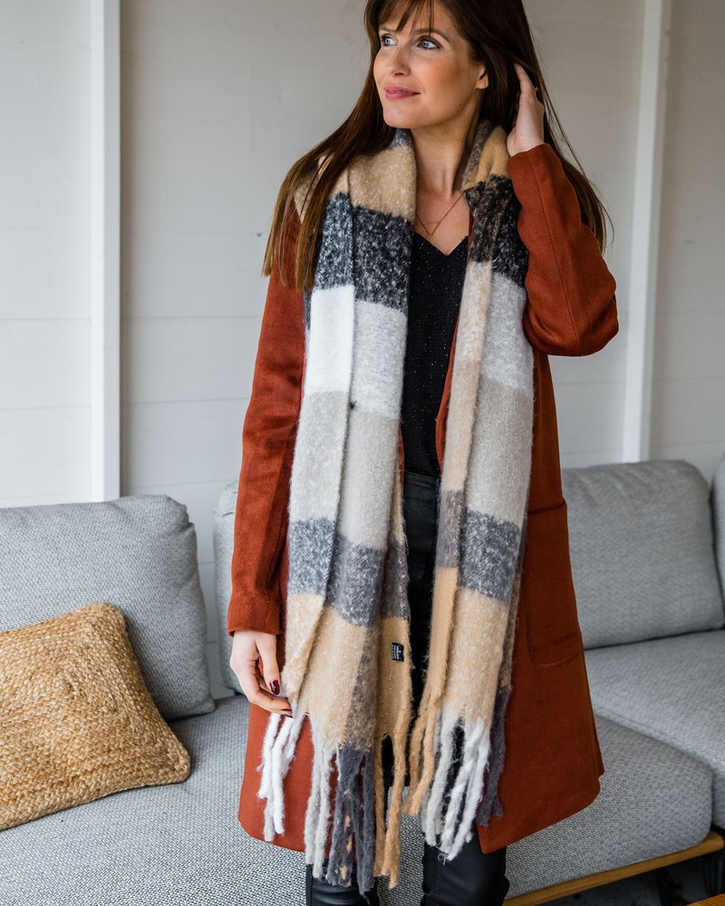 Soft Scarf Checkered Beige