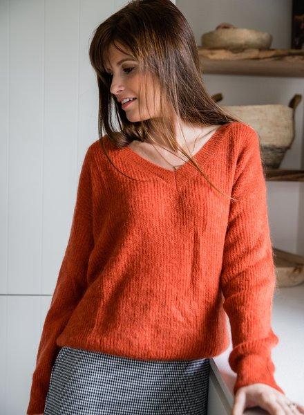 V-Sweater Brique