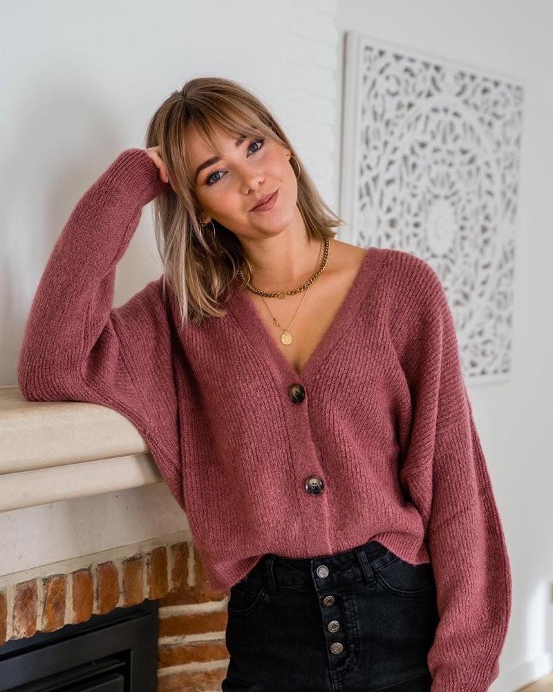 Button Knit Raspberry
