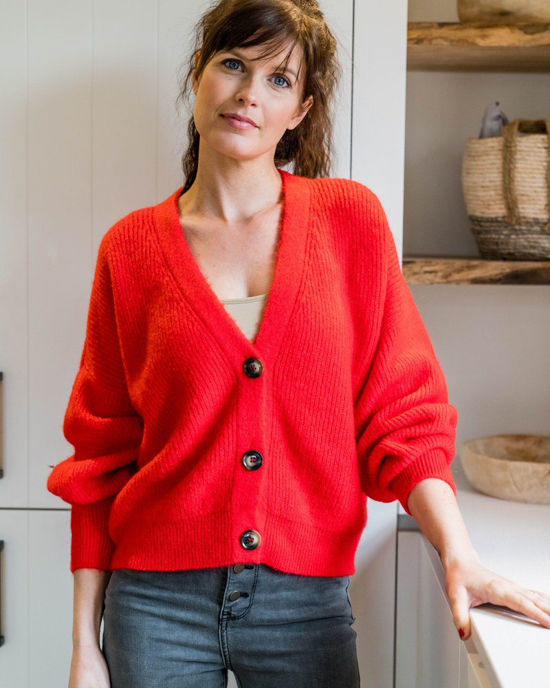Button Knit Red