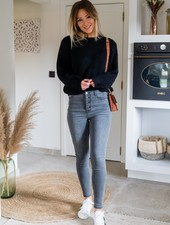 High Waist Buttons Pants Grey