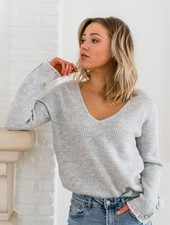 Elena V-Sweater Grey