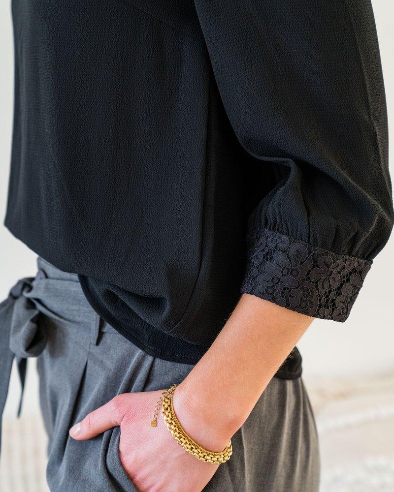 Crochet Flower Blouse Black