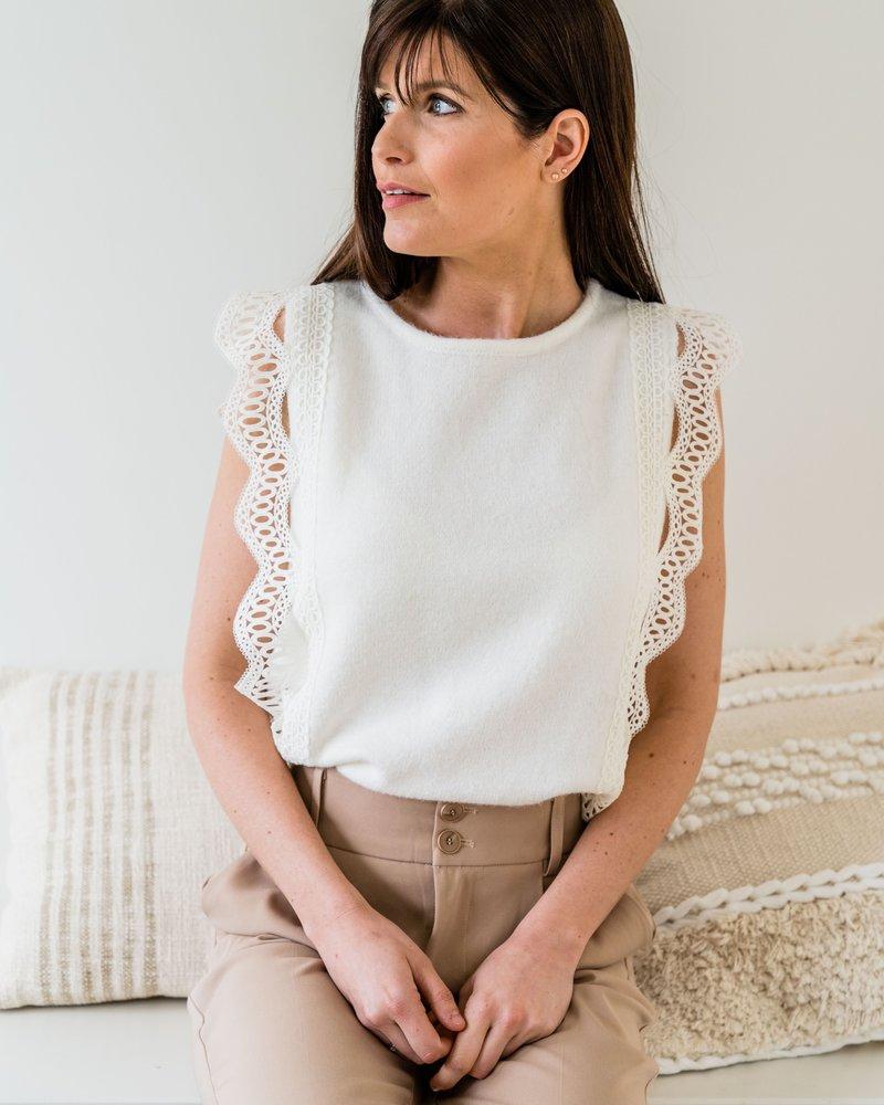 Nora Crochet Top White