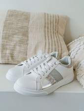 Snake, Grey & White Sneakers