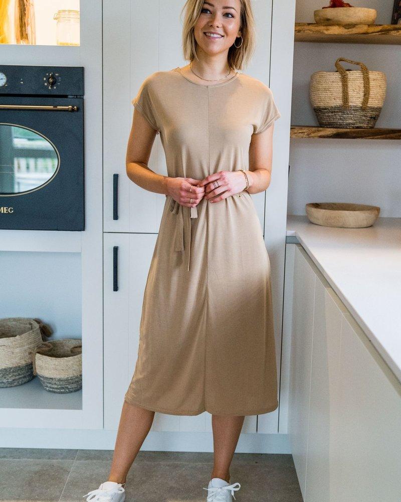 Aya Maxi Shirt Dress  Beige
