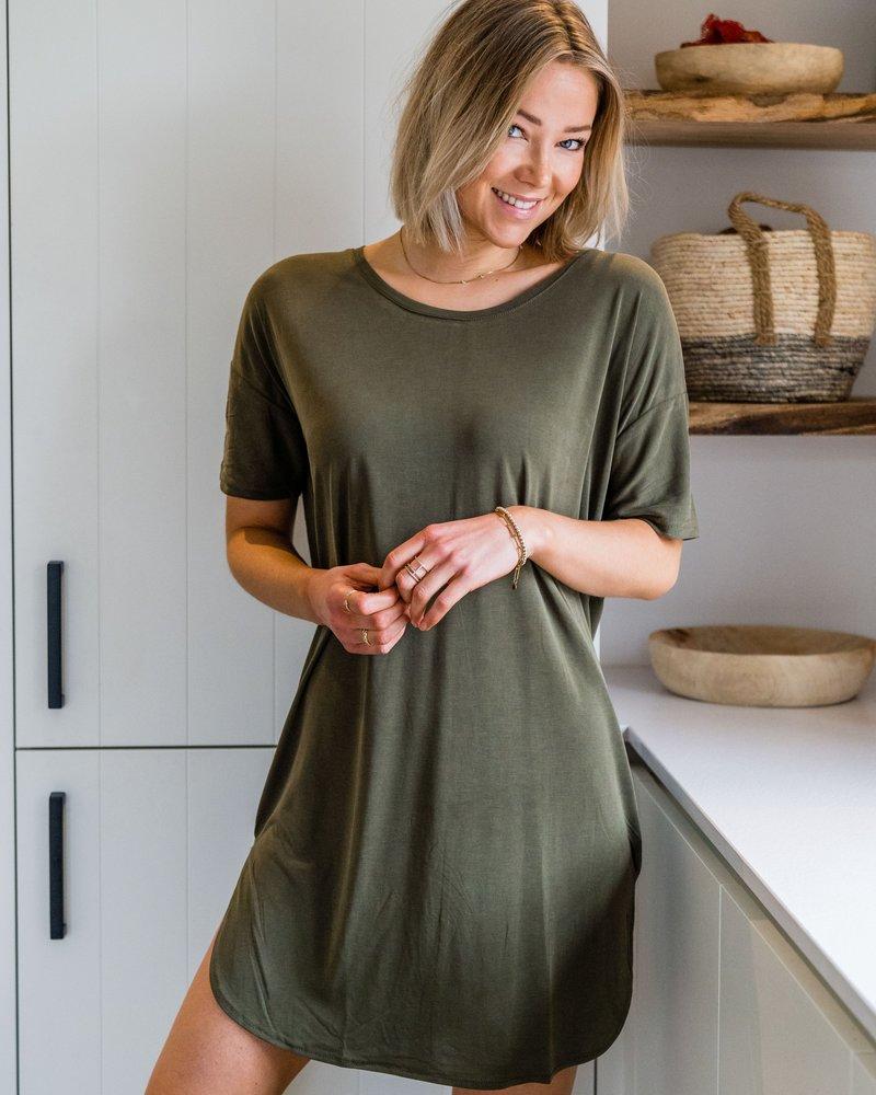 Aya Shirt Dress Kaki