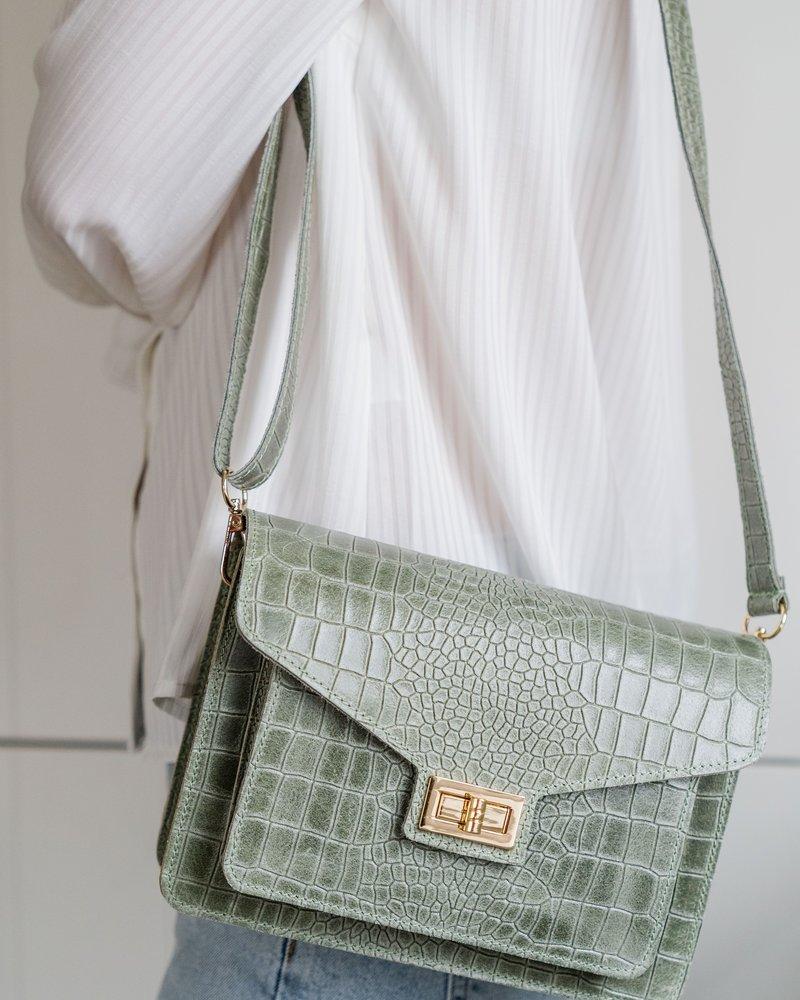Kroko Leather Bag Pistache