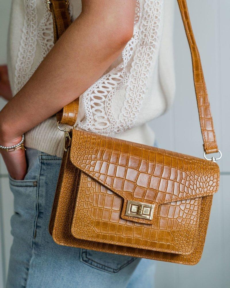 Kroko Leather Bag Camel