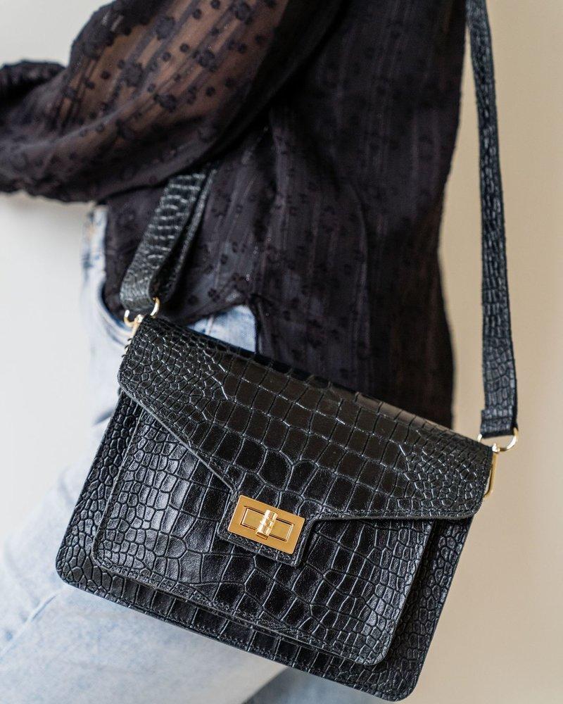 Kroko Leather Bag Black