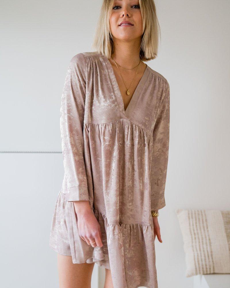 Yentl - Beige Gold Frill Dress
