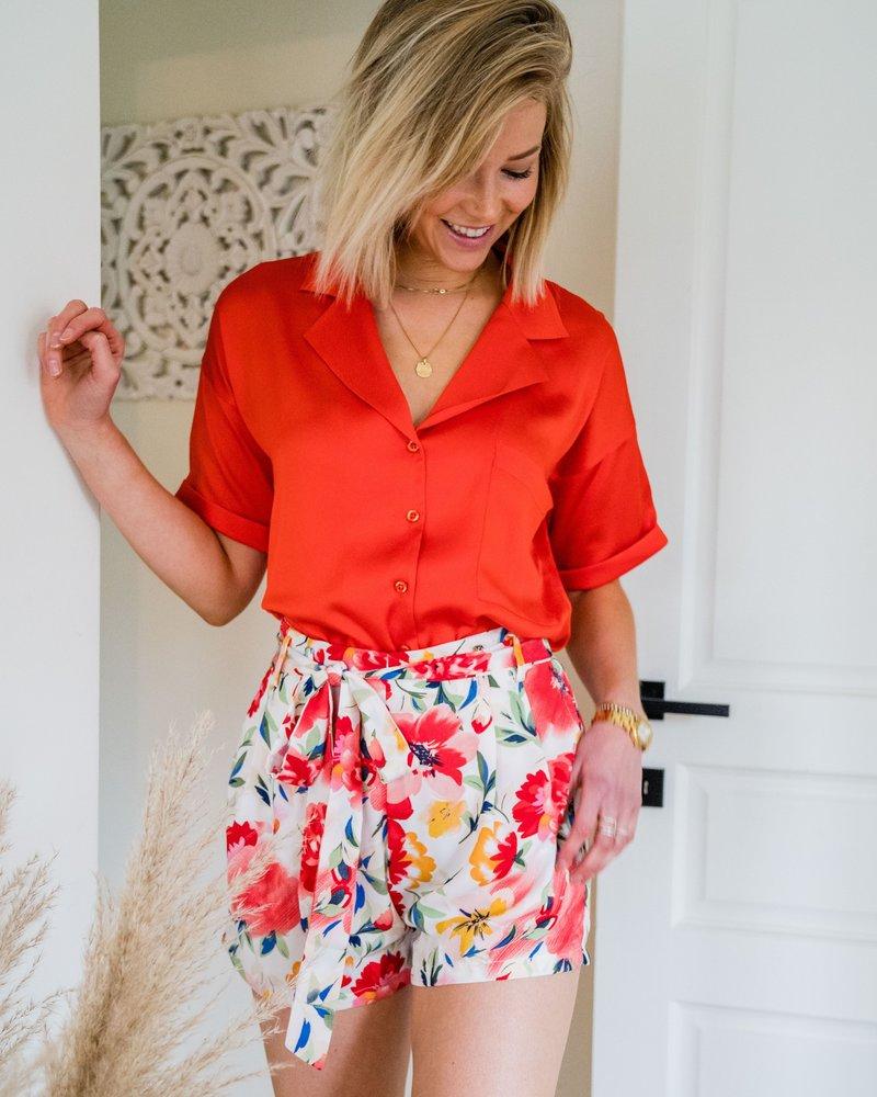 Red Floral Short