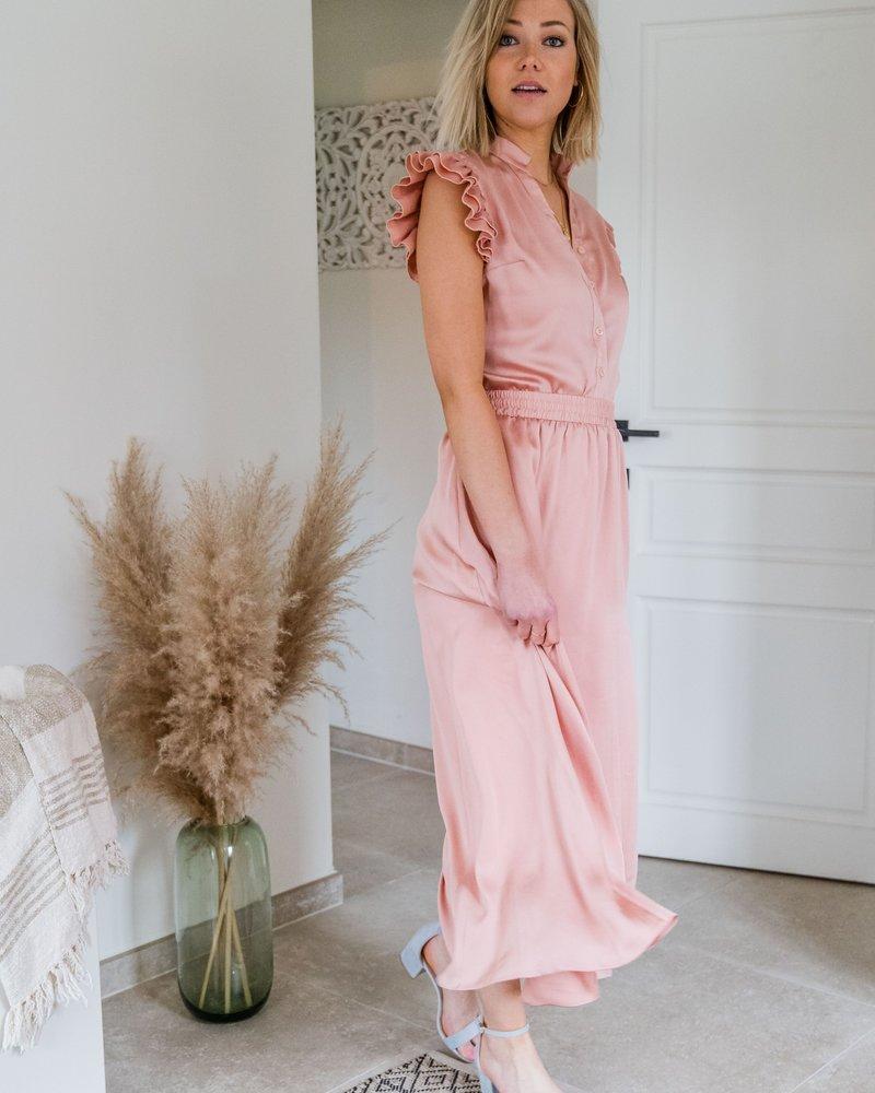 Yentl - Satin Frill Blouse Pink