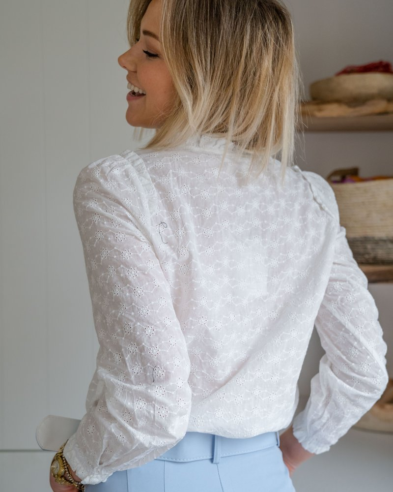White Little Crochet Flower Blouse