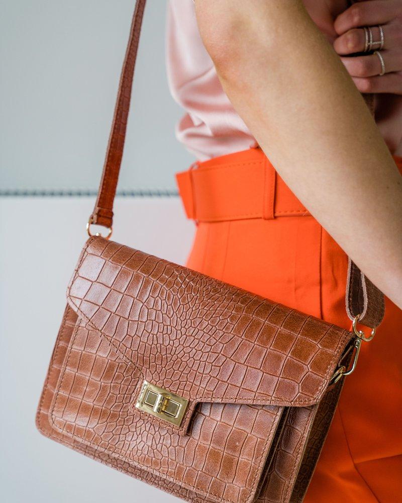 Kroko Leather Bag Cognac
