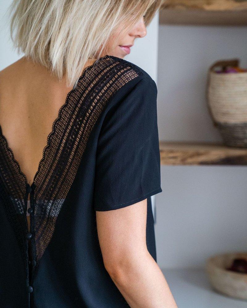 V- Lace Back Short Sleeves