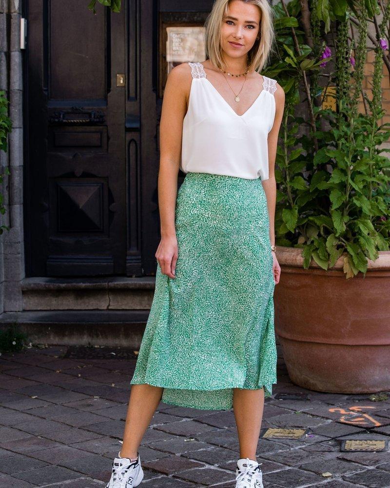 Green Dotted Skirt