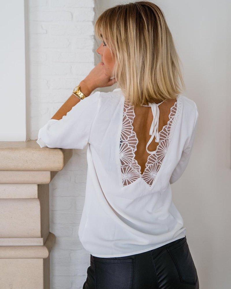 Open lace blouse white