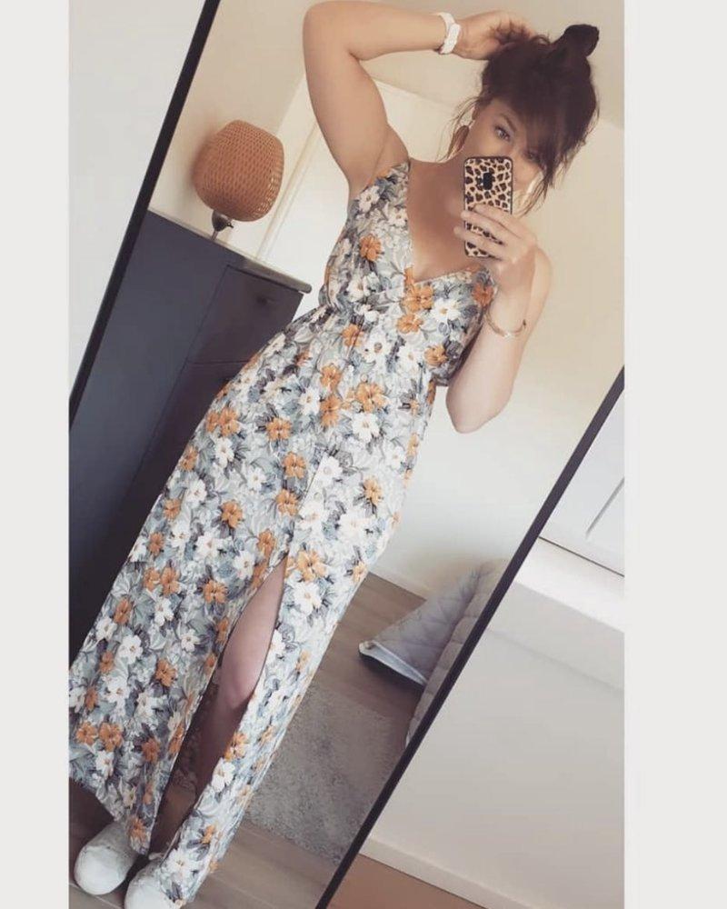 Maxi Grey Flower Dress