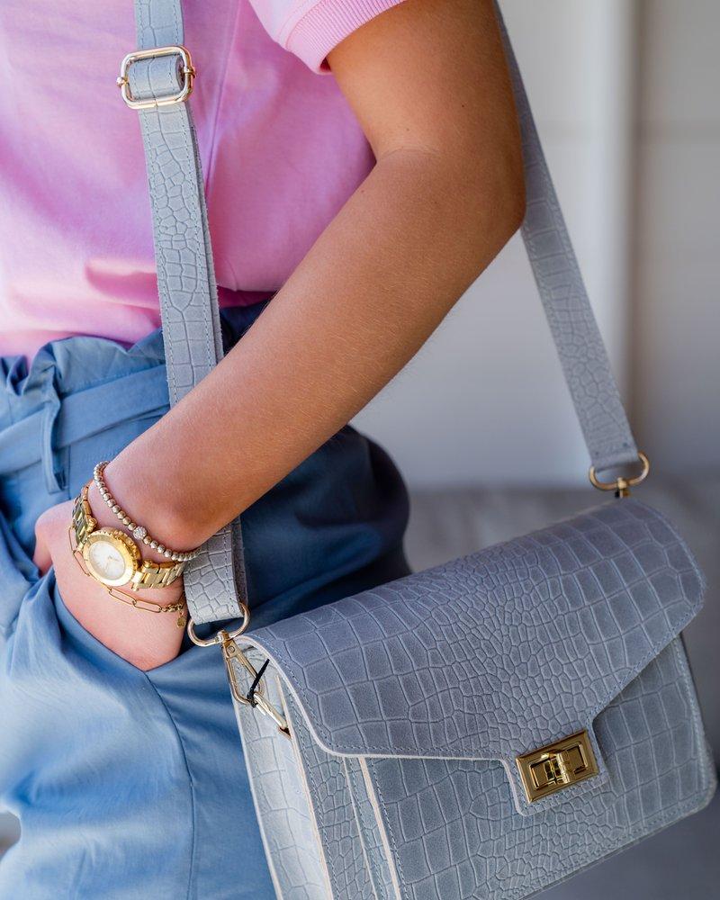 Kroko Leather Bag Ciel