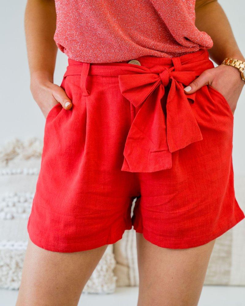 Red Linnen Short