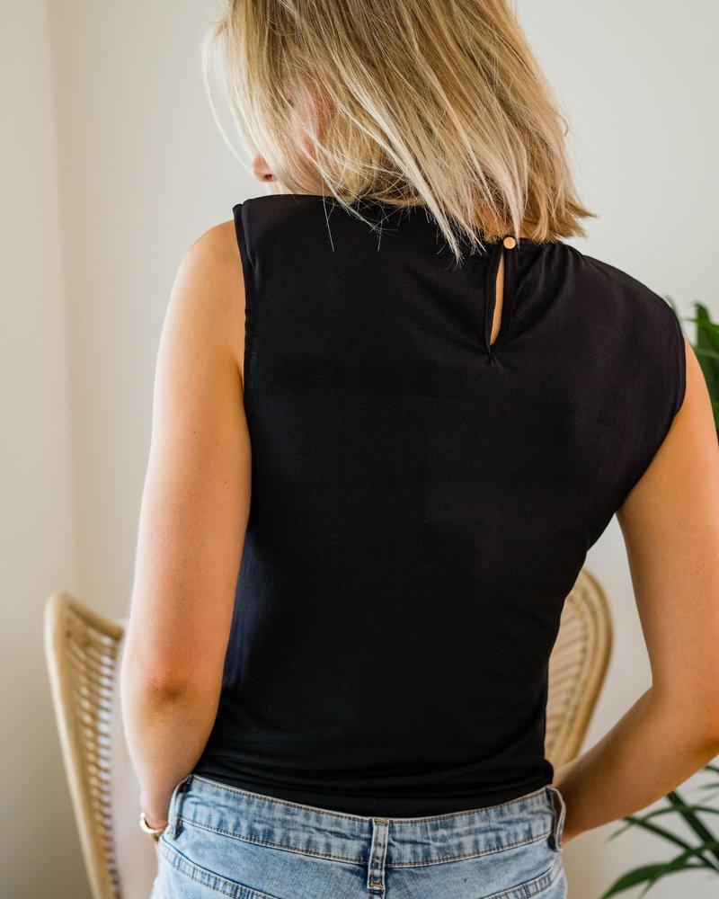 Padded Shoulder Bodysuit Black