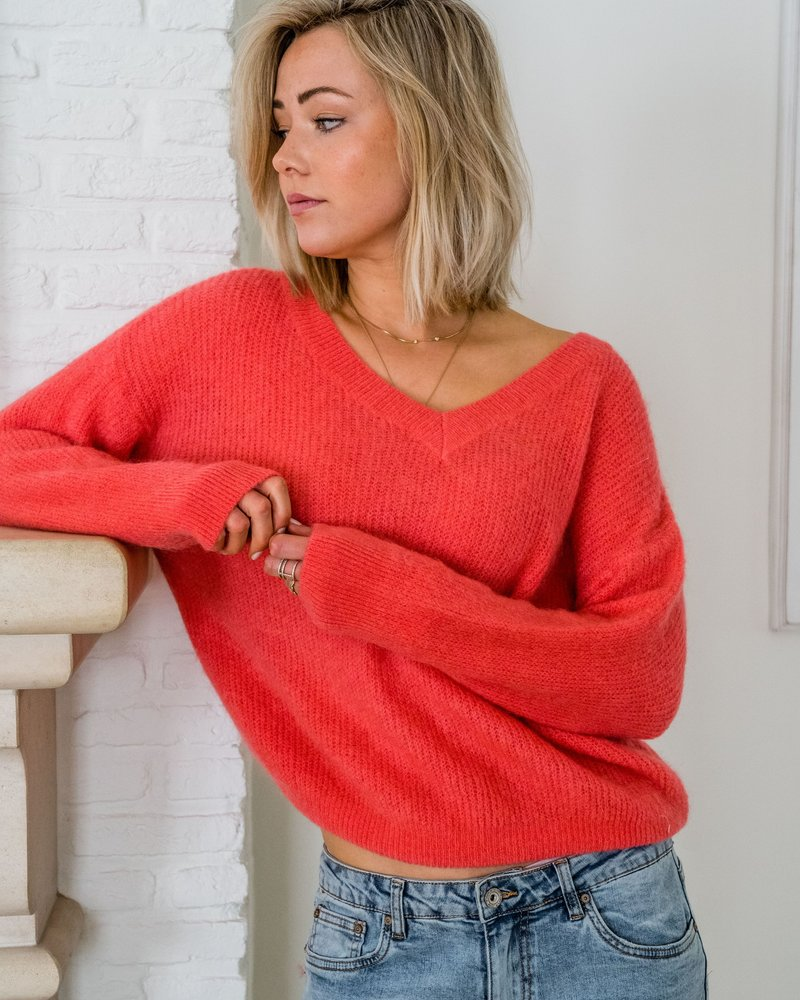 V-Neck Sweater Corail