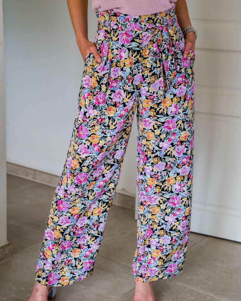Floral Black Pants