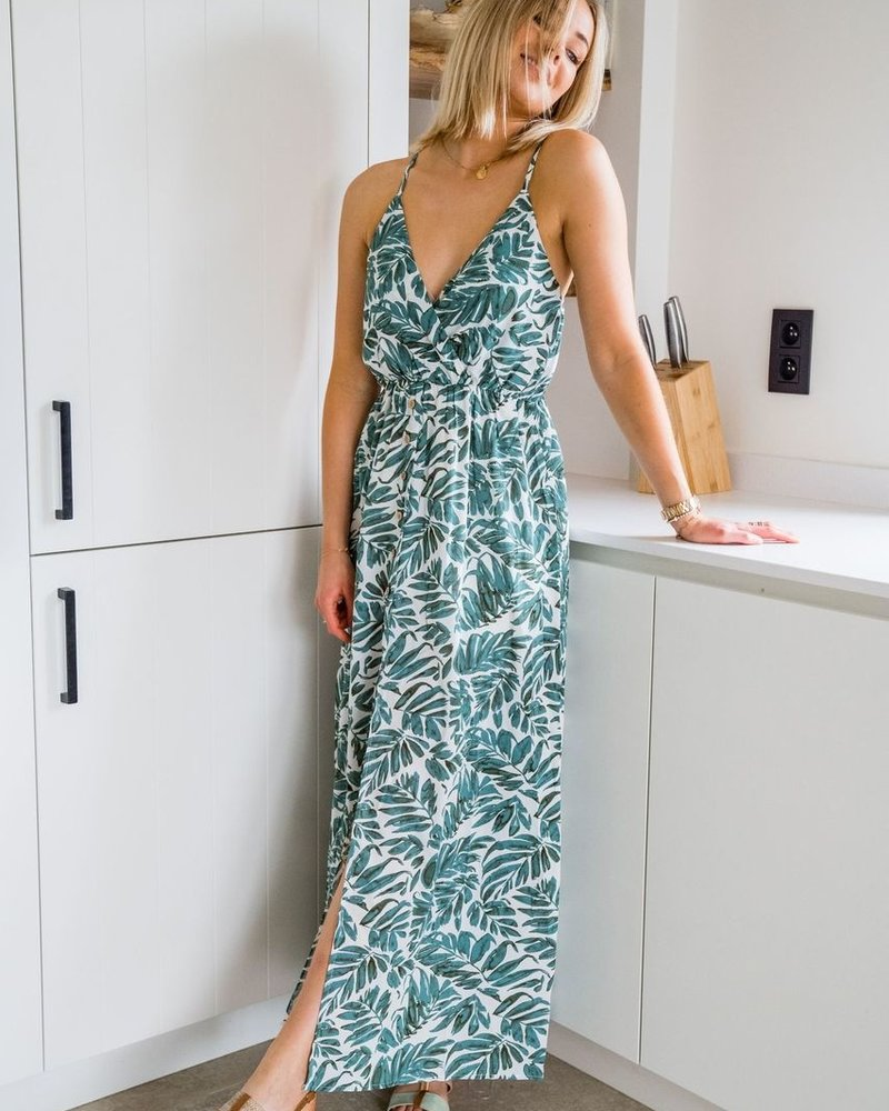 Leaves Button Dress Green