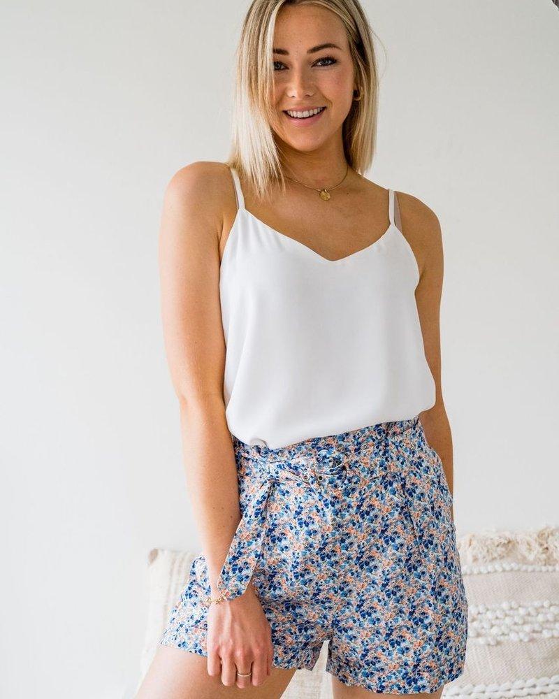 Flower Belt Short Blue