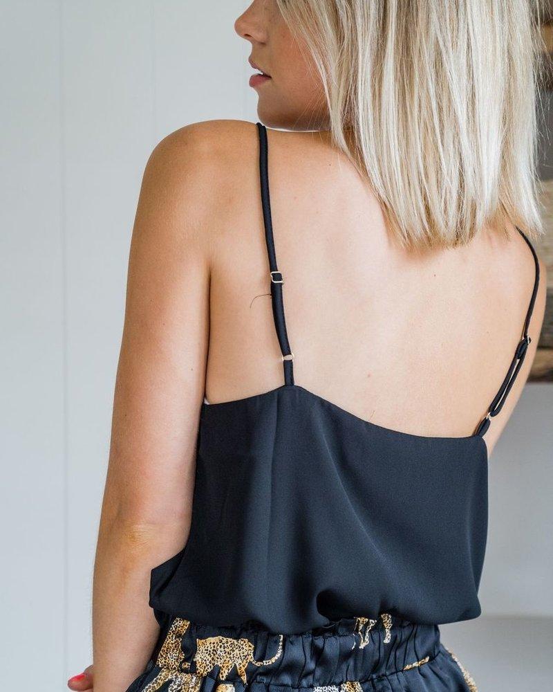 Button Lace Top Black