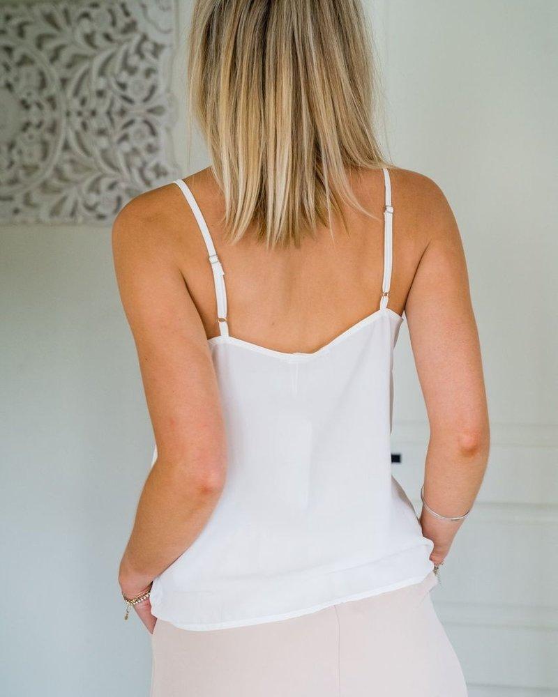 Button Lace Top White