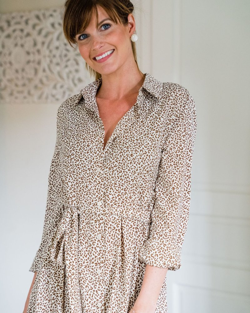 Panter Spotted Dress Beige