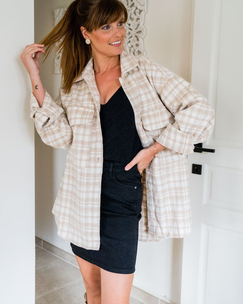 Checkered Fall Vest Beige