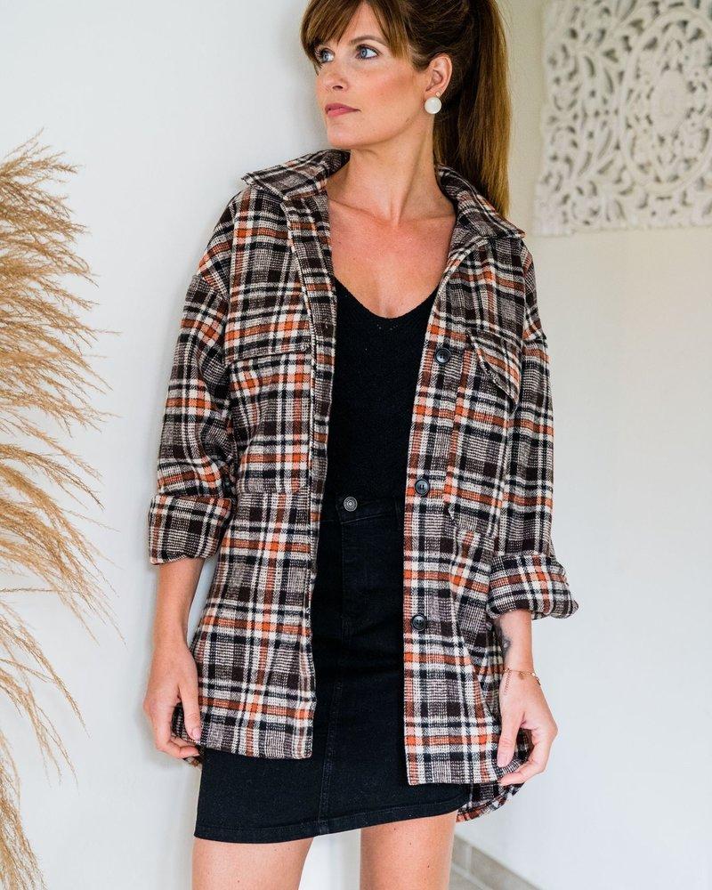 Checkered Fall Vest Orange