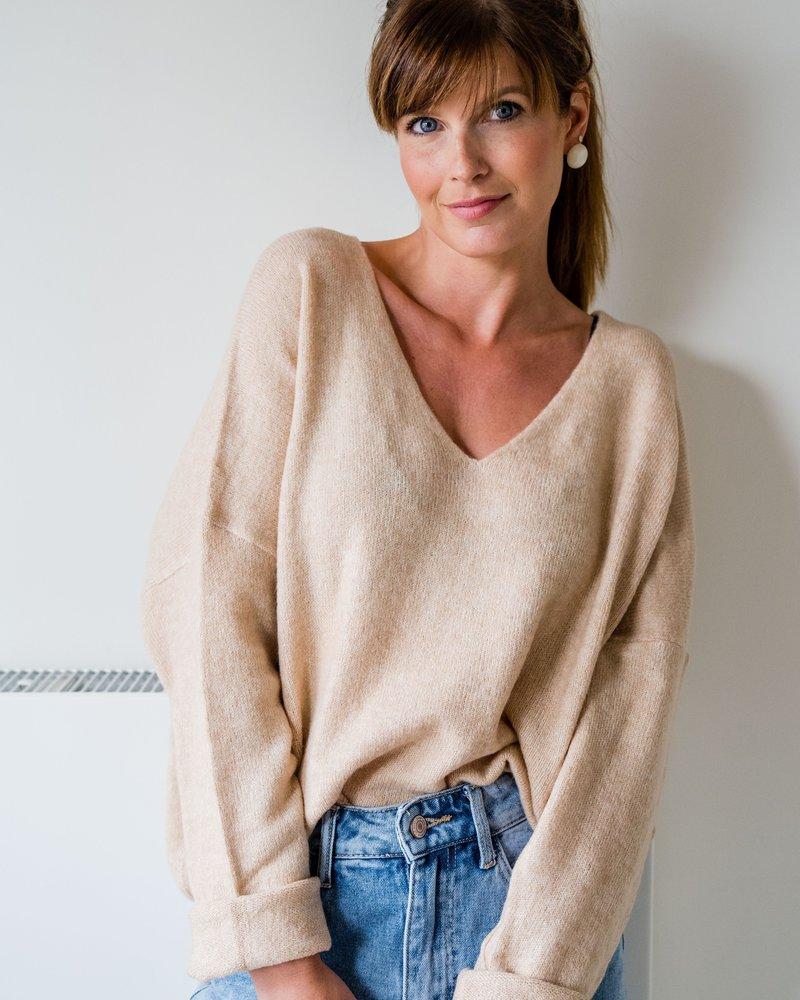 Lily V-Sweater Camel